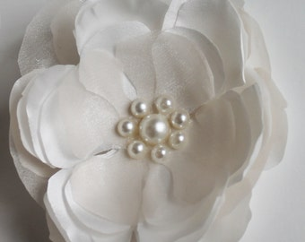 SALE White and Ivory Hair Clip Wedding Hair Clip Wedding Hair Comb Wedding Accessories Bridal Headpiece