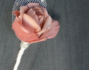 Wedding Boutonniere Grooms Boutonniere Groomsman Boutonniere Mens Wedding Boutonniere Silk Boutonniere Wedding Accessories Blush Boutonniere