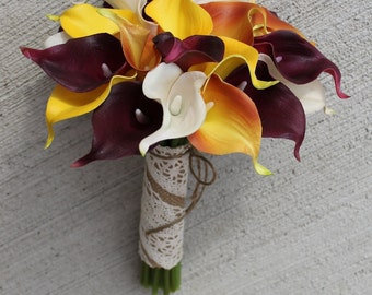 Fall Wedding Bouquet  Calla Lily Bouquet Orange Bouquet  Real Touch Yellow Calla Lily Bridal Bouquet Wedding  Bouquets,  Weddings