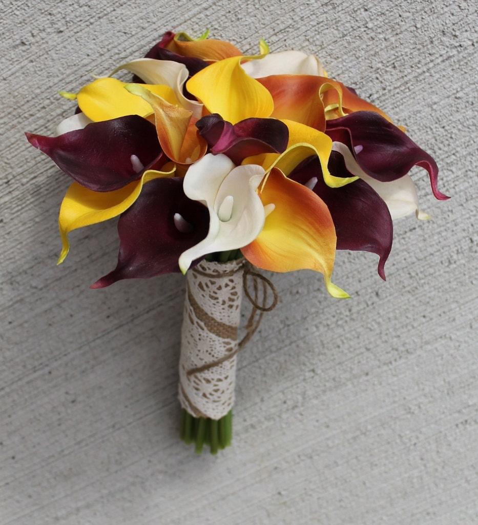 Fall Wedding Flowers List: Fall Wedding Bouquet Calla Lily Bouquet Orange Bouquet Real