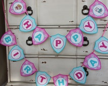 Skye & Everest Themed - Happy Birthday Banner - Customizeable - Paw Patrol - Girls Birthday -Pink and Blue