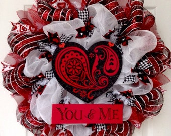 You And Me Heart Valentines Day Deco Mesh Handmade Wreath