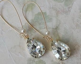 Swarovski Clear Crystal Earrings Wedding Bridal Crystal Jewelry Swarovski Crystal Drop Earrings Crystal Teardrop Rhinestone Earrings
