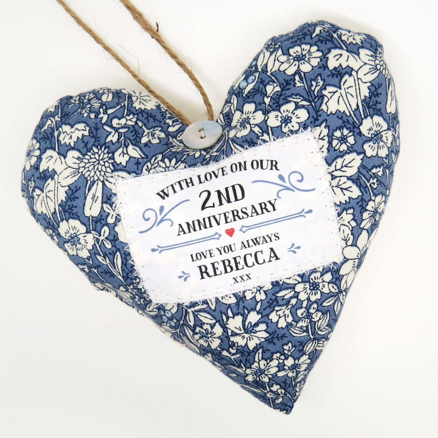 Cotton Wedding Anniversary Gifts: Personalised 2nd Second Wedding Anniversary Gift. Cotton