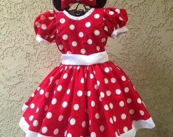 Red polka dots dress Minnie mouse inspired