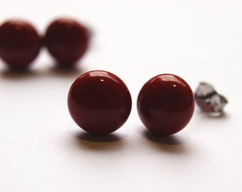 Light Red Brown Glass Stud Earrings on titanium posts