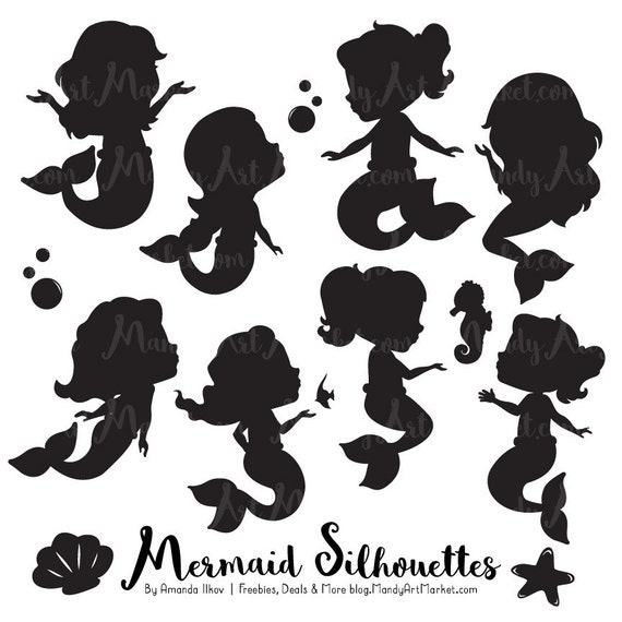 Cute Mermaid Silhouette Clipart Mermaid Silhouettes Clipart