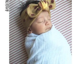 Fall Polkadot tied turban-mustard and maroon baby turban-tied girls turban-dot adult turban-polkadot headwrap-girls headwrap