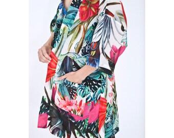 Beach Kimono / Boho Kimono / Boho Bath Robe with floral print