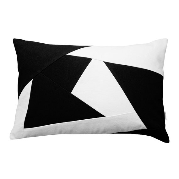 Black And White Geometric Throw Pillows : Black and white geometric lumbar throw pillow Atlantis Yacht