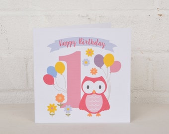 Little Owl 1st Birthday Card, Card for a One year old, First Birthday Card