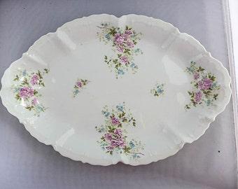 """Antique Large  Platter Marked """" Austria"""" 17"""" L X 11"""""""