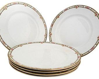 """Elegant Floral Set of 6  Dinner Plates Marked """"Homer Laughlin"""""""