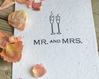 Plantable Wedding Card. Mr. And Mrs. For the Bride and Groom. Eco-Friendly, Seeded Wedding Thank You's. Champagne glasses. Engagement Card.