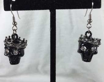Black skull and crown dangles