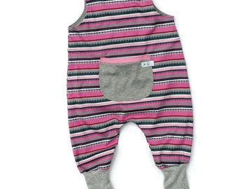 Baby Girl Cotton Knit Overalls, Striped Girl Jumpsuit, Baby Girl Knit Romper, Baby Girl Clothes