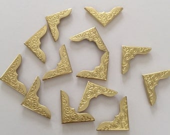 50 pcs Gold Plated Scrapbooking Albums Corner Protectors Card File Menu Metal Book Cardmaking Supplies Tools