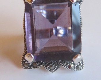 Marcasite Sterling Silver Ring Large Amethyst Color Stone