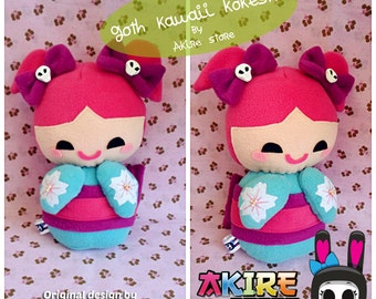 GOTH KAWAII KOKESHI  doll by akire store