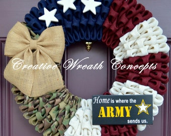 Home is where the Army sends us - Rustic Military Wreath