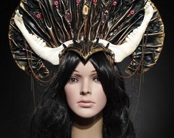 Gothic headpiece - tribal headdress - fantasy headpiece -  black and golden headpiece - gothic kokoshnic - headdress with bones - kokoshnic