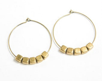 RAYS | Medium Brass Antiqued Brass Hoops with Brass Cube Beads