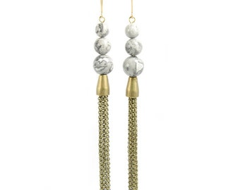 PLANETS | Triple Stacked Grey Jasper with Antiqued Brass Chain Fringe Tassels Earrings