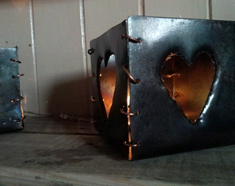 Steel Heart candle holder