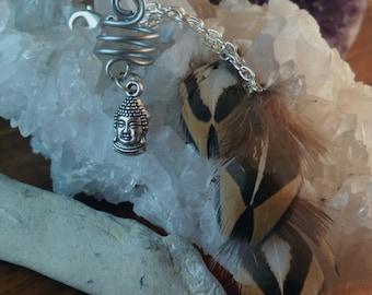 Custom Charm Dreadwrap || Dreadlock Coil w a Charm & optional detachable feathers, Buddha, Moon, Pentagram, dread beads, dreads, dreadlocks