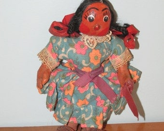 Vintage Folk Art Girl Doll