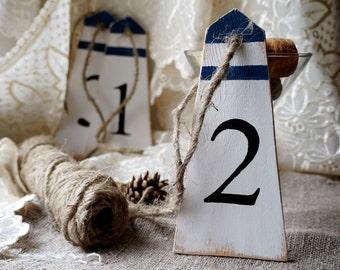 Lighthouse table numbers Wedding table numbers Nautical table numbers Wedding favors Coastal wedding Wedding decor CUSTOMIZABLE