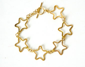 Alloy Bangle gold and brass, motif Star (FDPC)