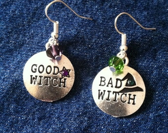 Silvertone Good Witch Bad Witch dangle earrings