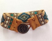 Southwestern, Sundance Style, Teal Hand Loomed Beaded Bracelet, Teal, Blues, Sage Green,Cream, Turquoise Gold, Leather Tabs
