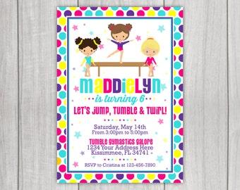 Gymnastics Birthday Invitation