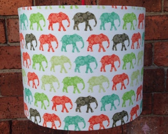 Colourful Elephant Parade Fabric Covered Lampshade