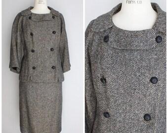 Vintage 1960s Tweed Suit / 60s 2 Piece Suit / Sanderson's La Jolla / Mod Suit / Boxy Jacket / Peter Pan Collar