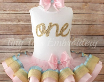 First Birthday Tutu Outfit ~ Includes Top, Ribbon Tutu & Hair Bow ~ Can be made in any colors of your choice!