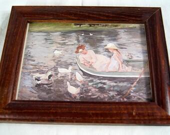Vintage 1987 Framed Card Summertime Painting by Mary Cassatt 1895 - Huntington Card Collection