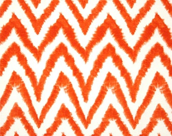 Tangelo Orange  Fabric. Diva  Print. Premier Prints. Tangelo  and white. Zigzag. Fabric by yard