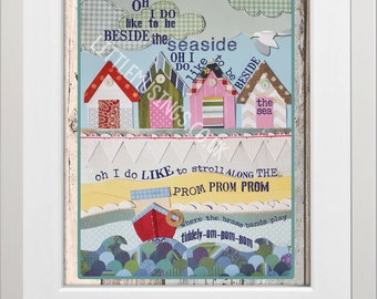 A4 print of ORIGINAL paper collage - Oh I do like to be beside the seaside""
