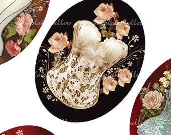 Digital Collage Sheet  Cream Corsets 30x40 mm images Scrapbooking Pendants Jewellery Making Printable Original  4x6 inch sheet 211