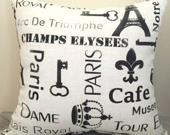Parisian Black + White Canvas Cushion Pillow Cover