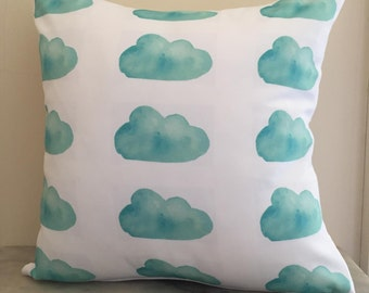 Mint Cloud Print Cushion Cover