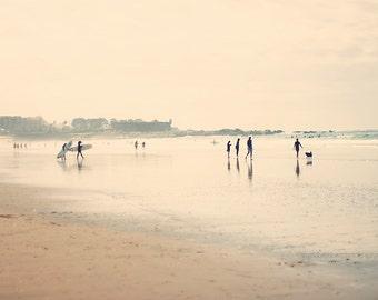Beach photography, people photography, surfers print, beach decor, ocean print, dreamy beach print, coastal decor, home decor, wall decor