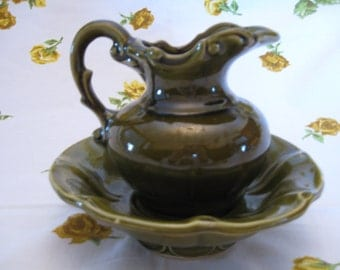 Vintage Green Small McCoy Pitcher and Bowl Set