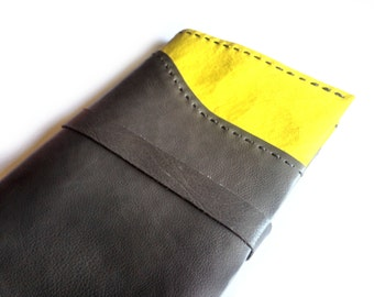 Leather moleskine cover in gray and yellow, Leather journal cover. Christmas gift for writers, Xmas Gift for teachers, gift for friends