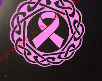 Pink Breast Cancer Awareness Ribbon Celtic Knot  Window Decal