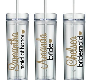 7 Skinny Personalized Bridesmaid Tumblers, Bridal Party Tumblers, Bridesmaid Tumblers, Wedding Tumblers, Bridesmaid Gift
