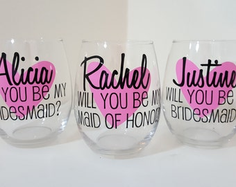 5 Will you be my bridesmaid Wine Glass Asking Bridesmaid Bridesmaid Proposal, My turn to pop the question